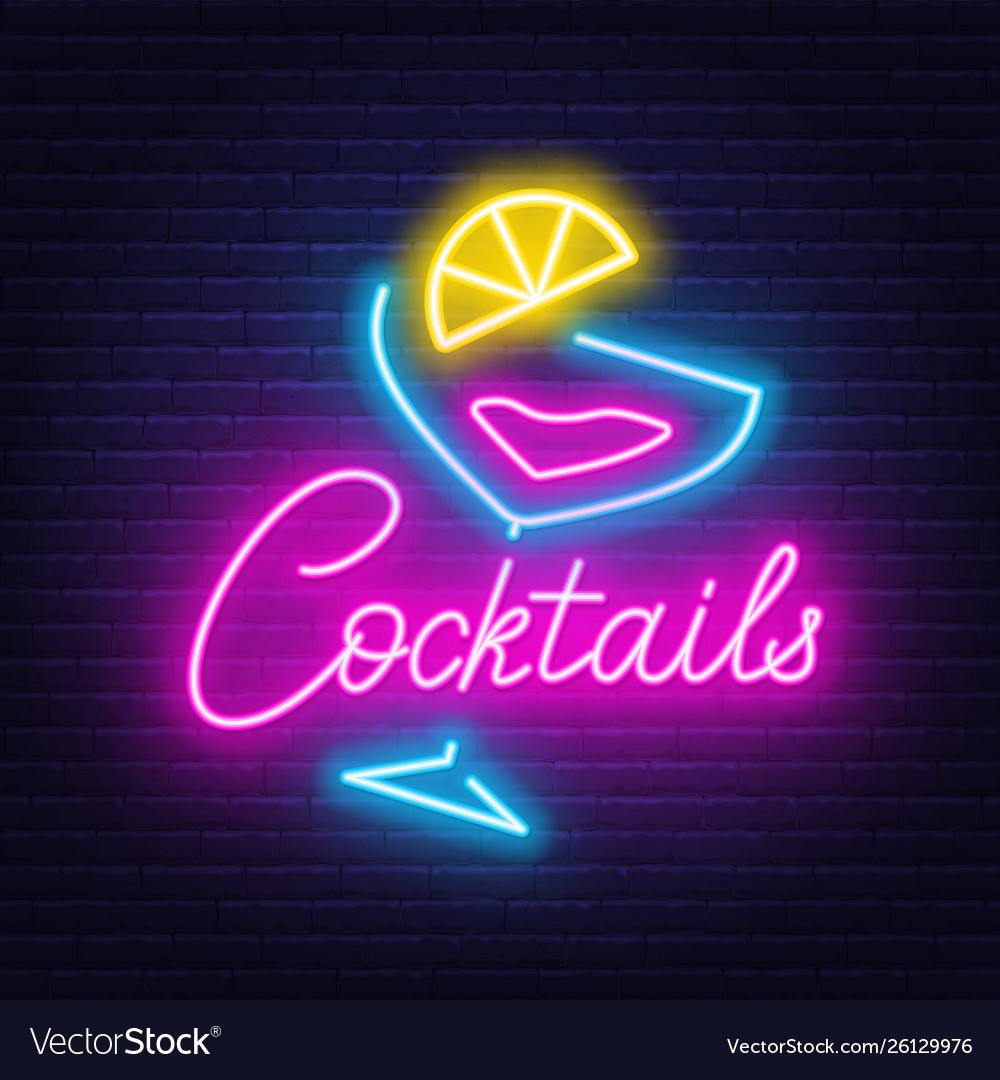 Neon lettering cocktails and sign on wall