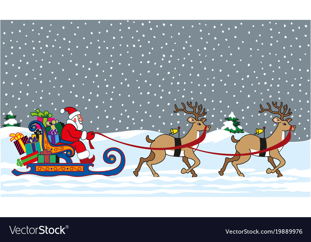 santa claus aboard his sleigh full of gift packs vector image