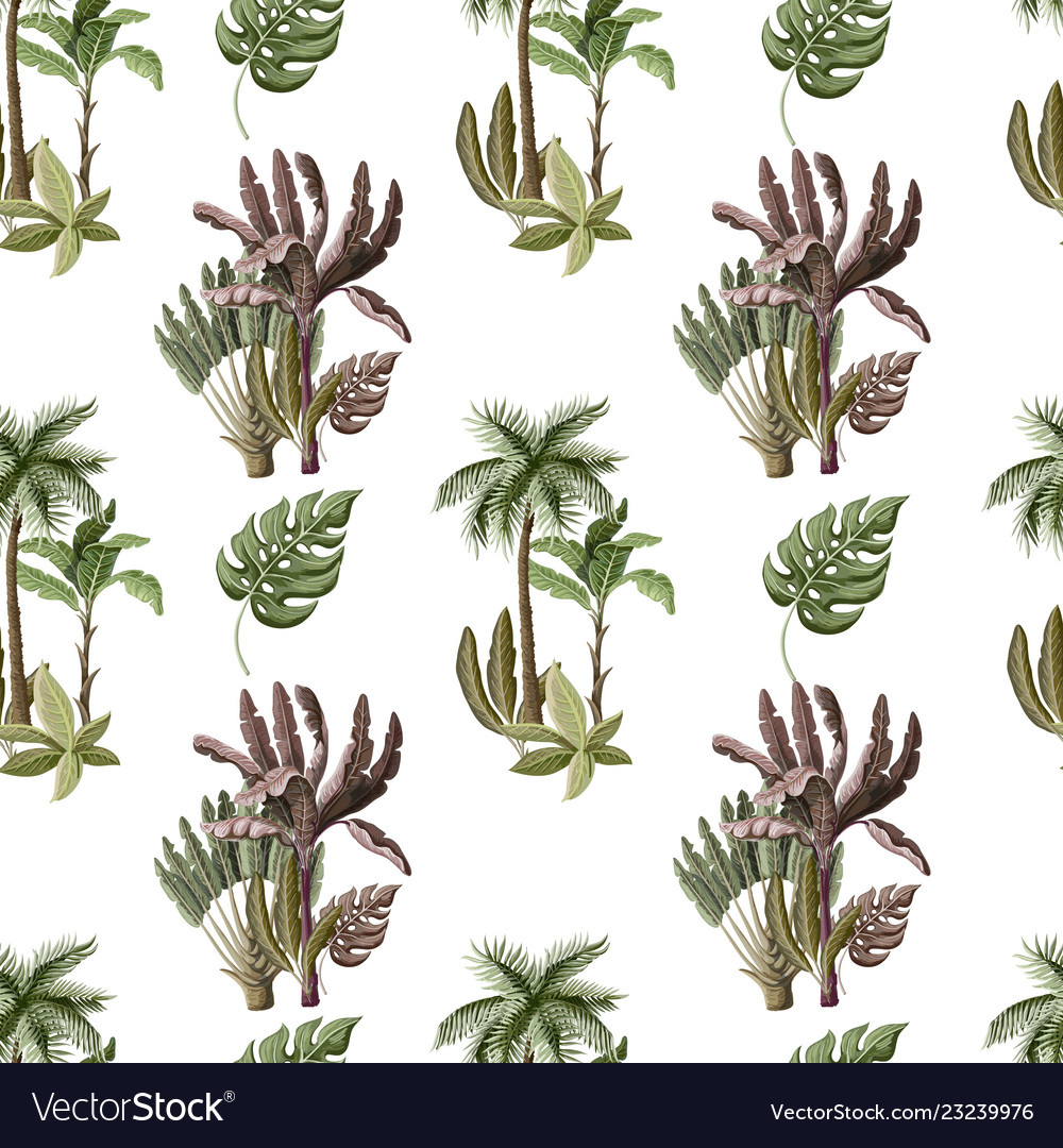 Seamless pattern with exotic trees such us palm