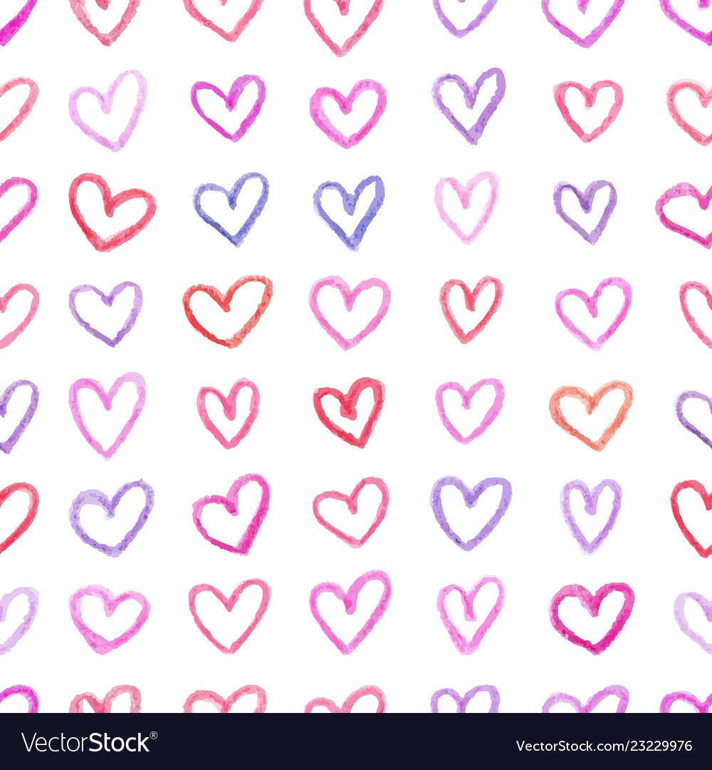 Seamless pattern with hand drawn color hearts