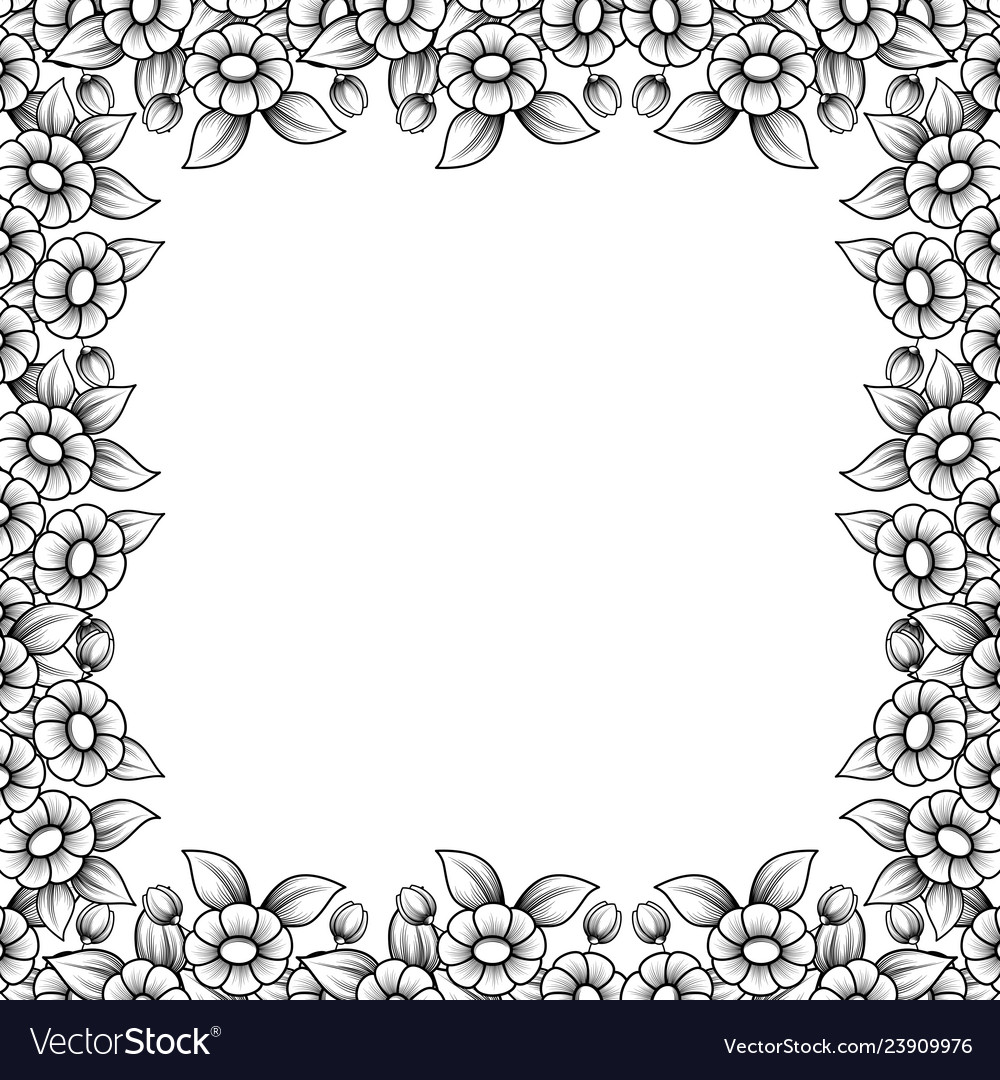 Square daisy outline frame