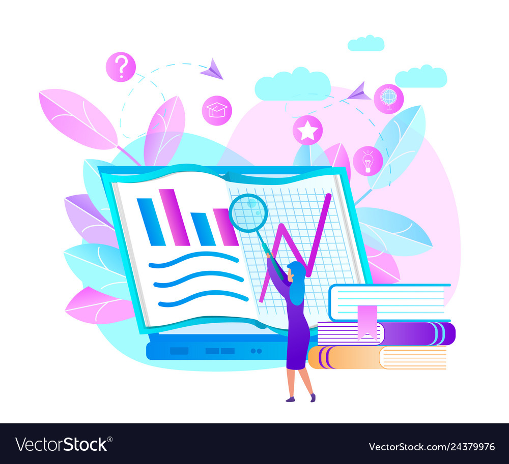 Woman hold magnifier learn graphs at laptop screen