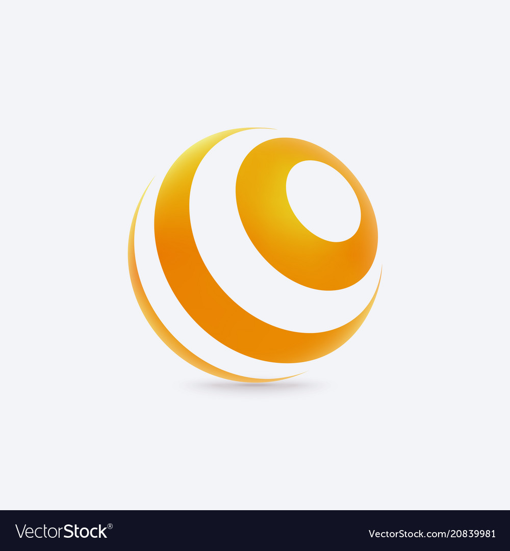 Abstract sphere logo with lines texture sign for