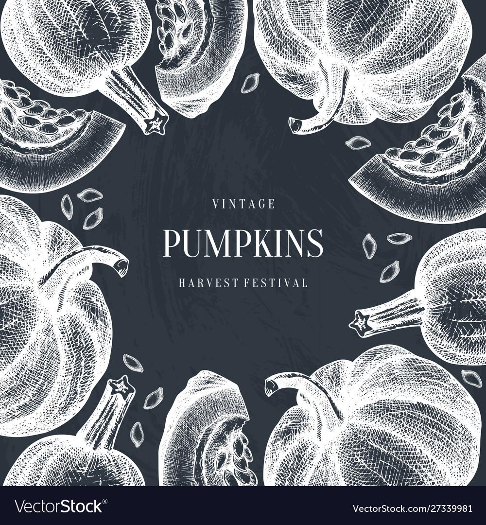 Autumn frame with hand drawn pumpkins thanksgivin