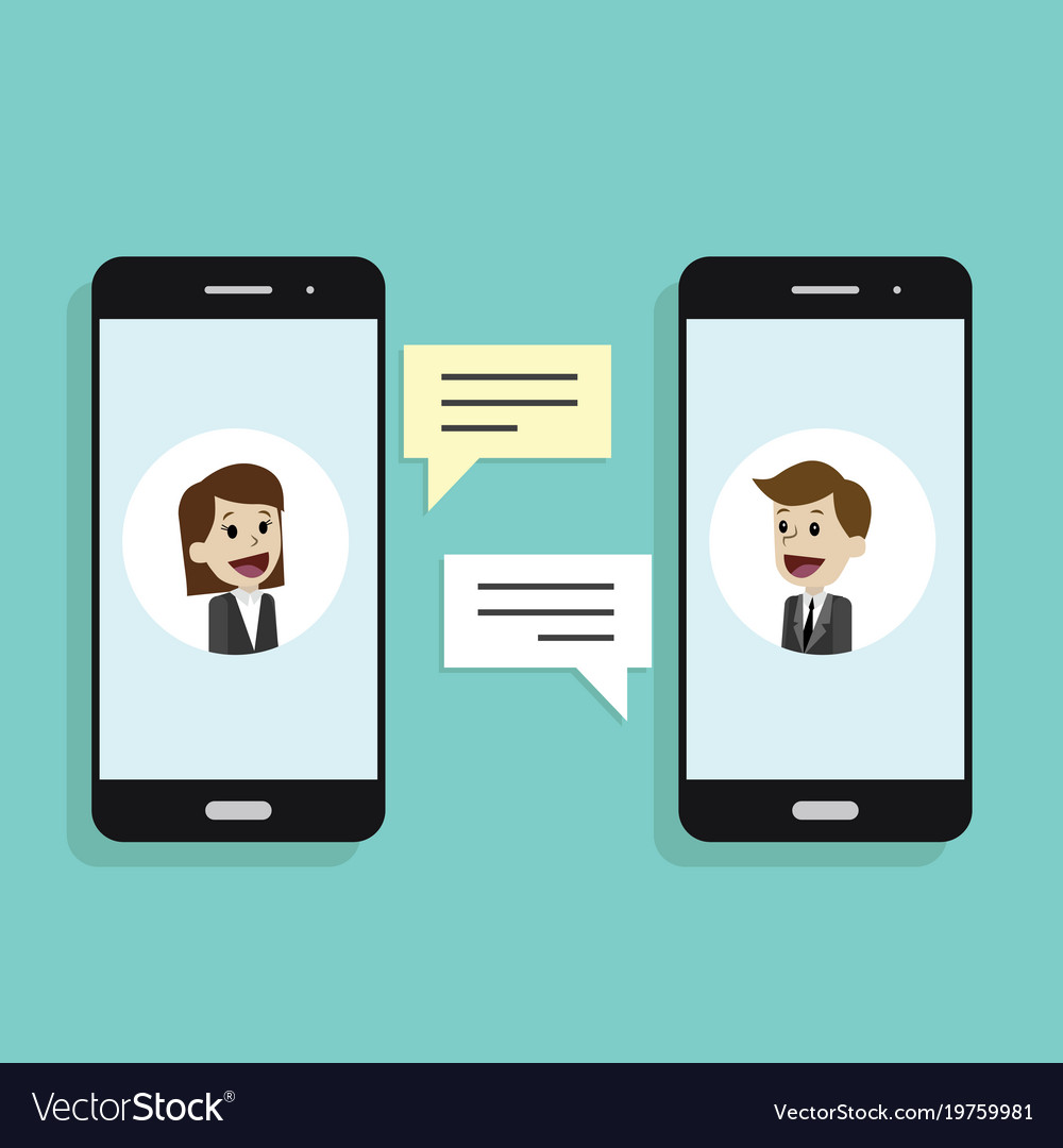 Concept of a mobile chat or conversation of people