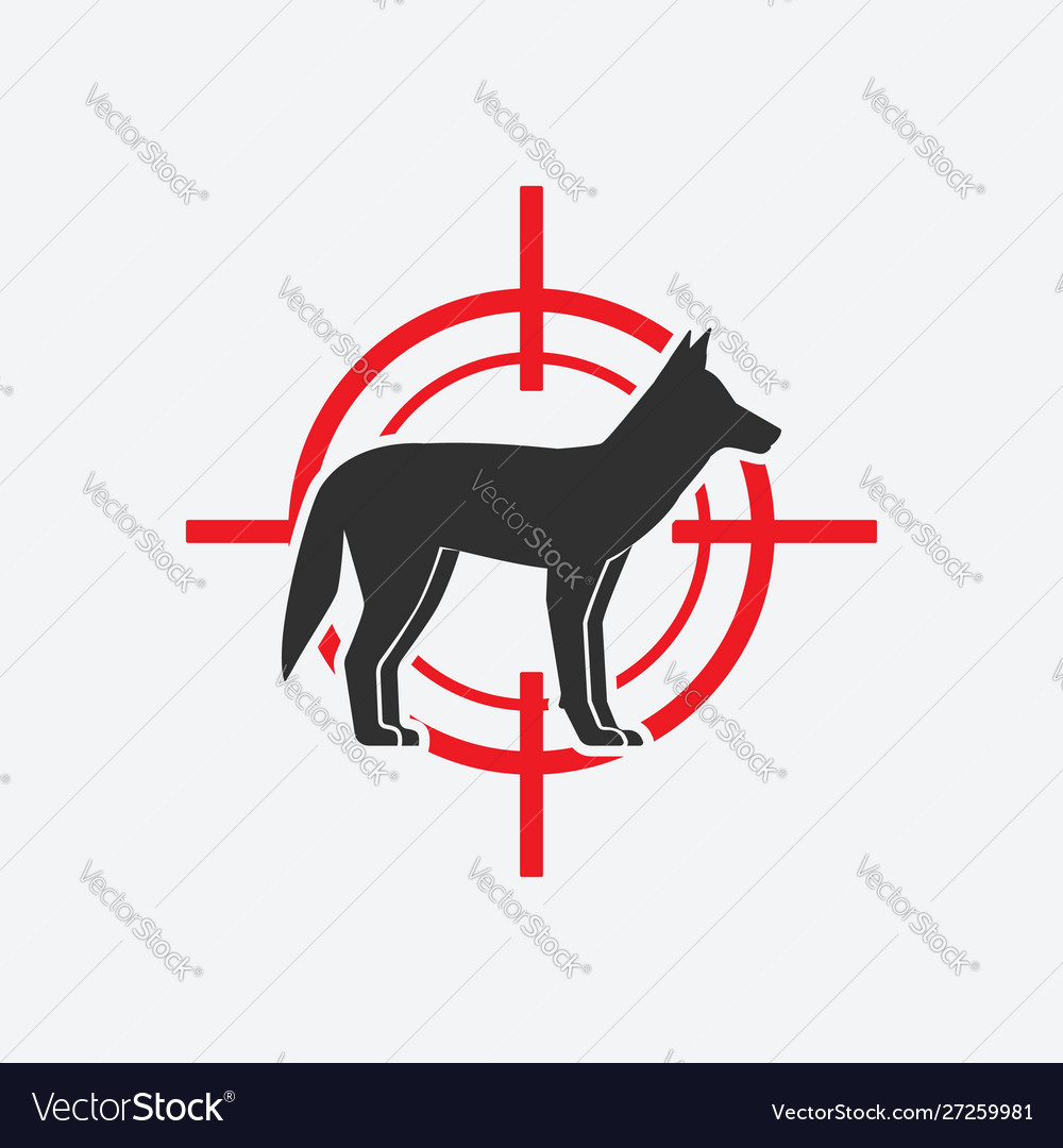 Coyote silhouette animal pest icon red target