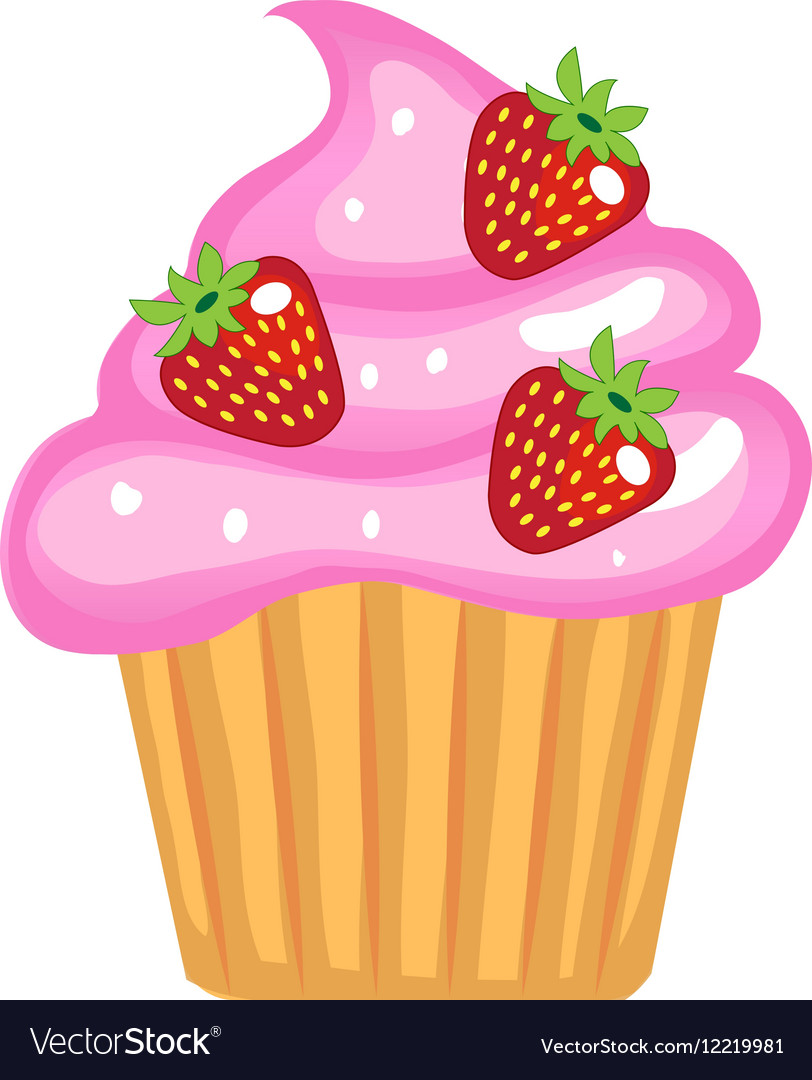cute cupcakes flat cartoon style cake with cream vector image rh vectorstock com cupcake cartoon pictures free cupcake cartoon pictures
