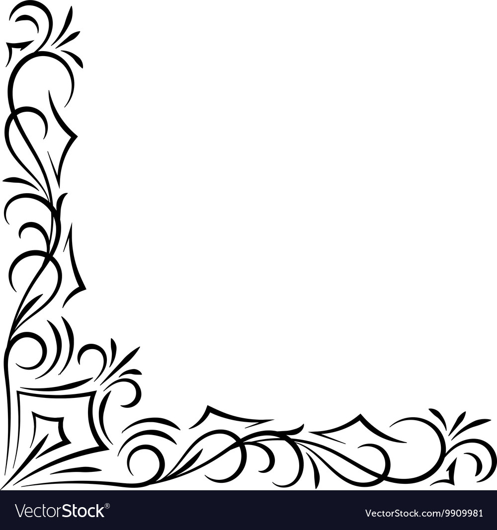Doodle abstract handdrawn corner frame Royalty Free Vector