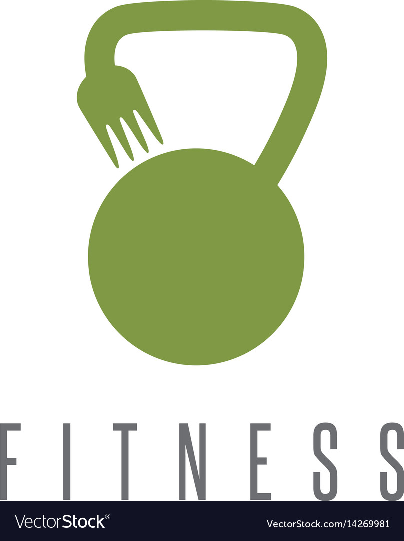 Kettlebell and fork healthy food design template