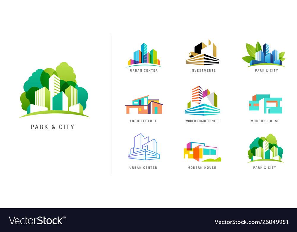 Real estate logo building development set of