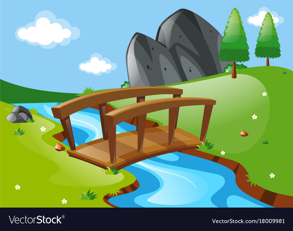 Scene With Bridge Over River Royalty Free Vector Image