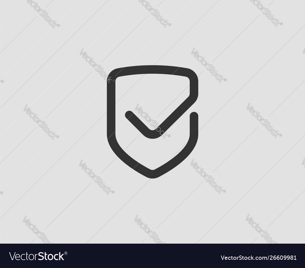Shield icon with mark symbol design element