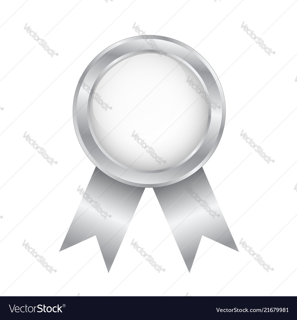 Silver round award badge on white stock