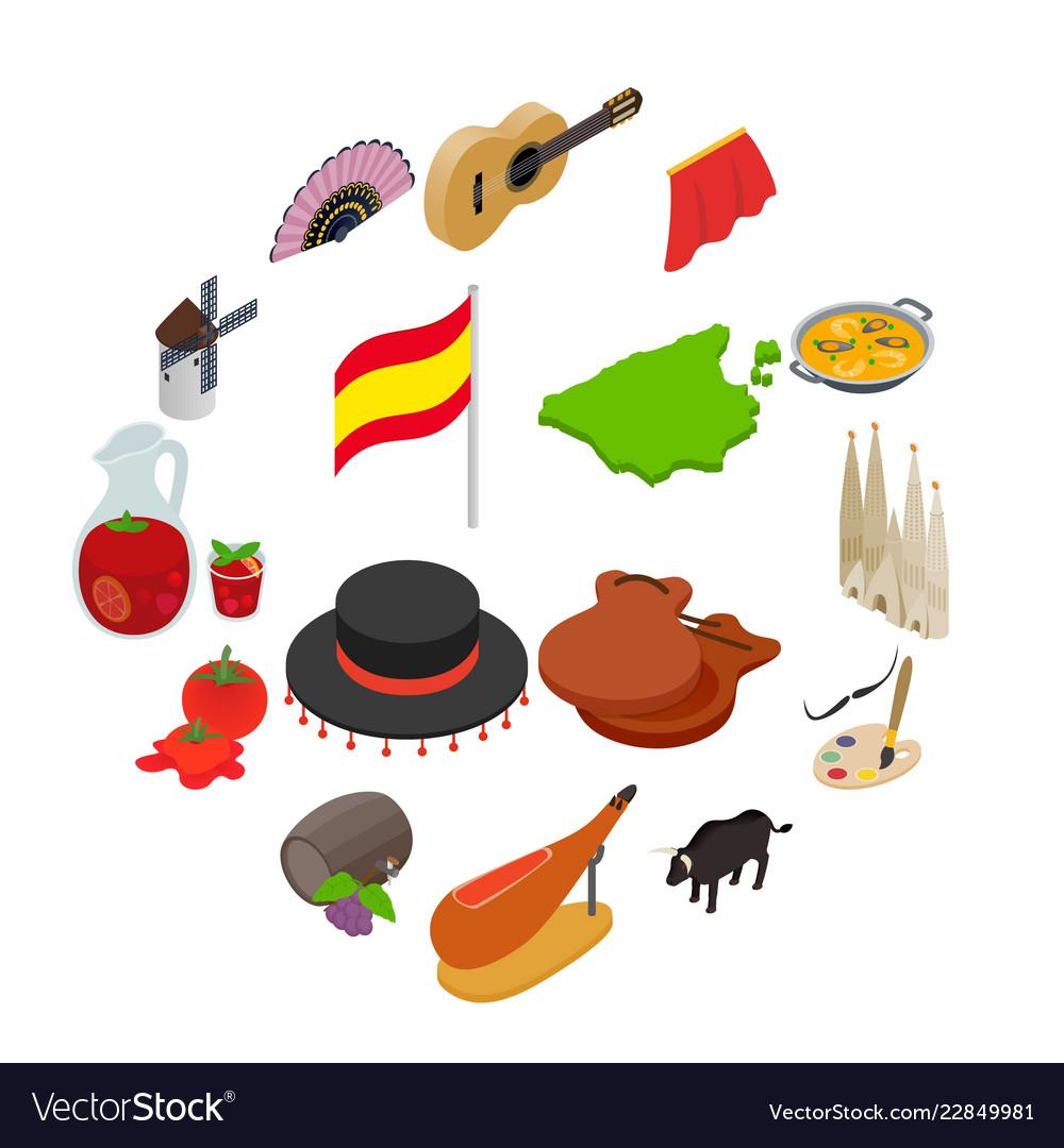 Spain isometric 3d icons