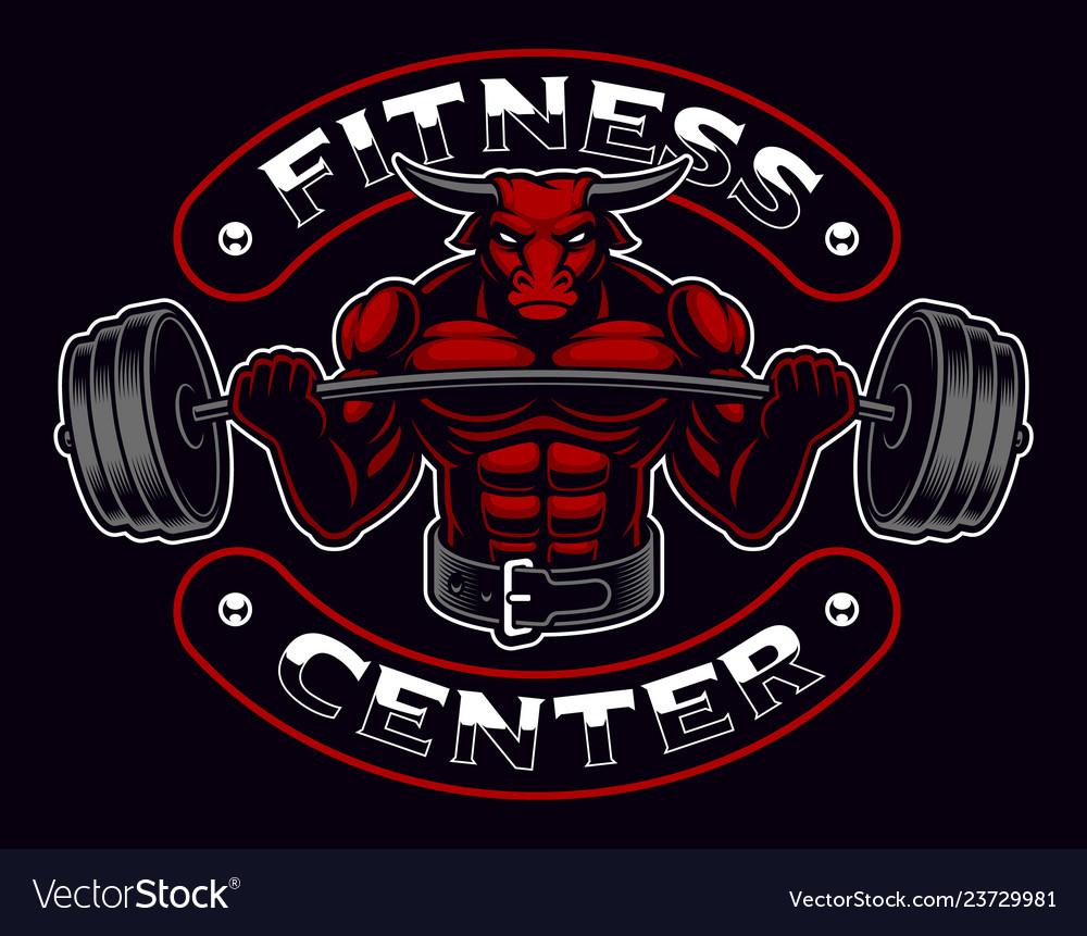 Vintage bodybuilder mascot on the dark background