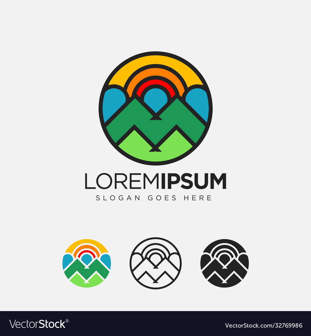 Abstract geometric colorful volcano mountain logo