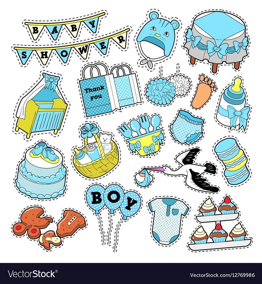 Baby Shower Boy Stickers Badges Patches Royalty Free Vector