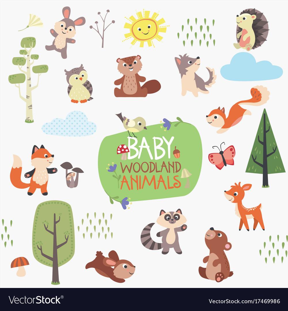 Baby woodland animals design set