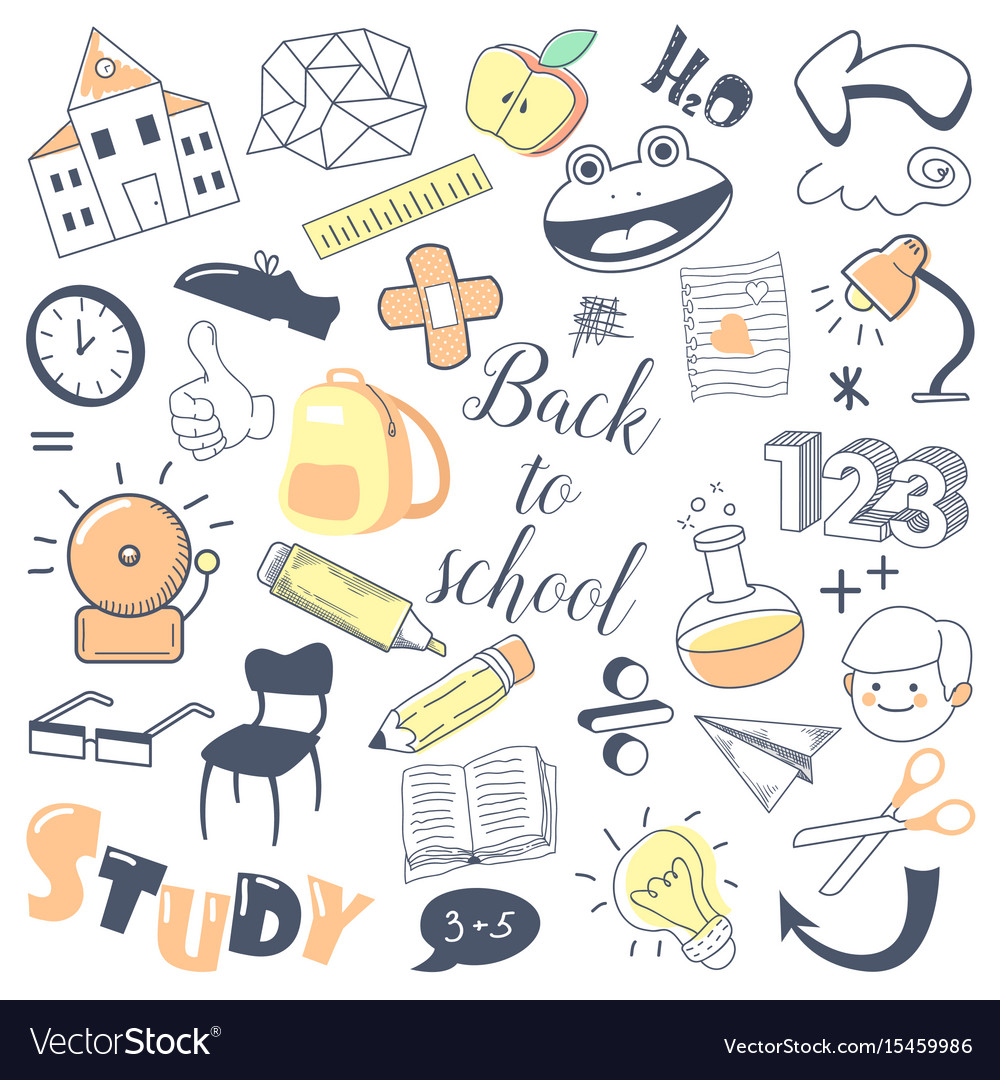 Back to school kids hand drawn doodle with boy vector image