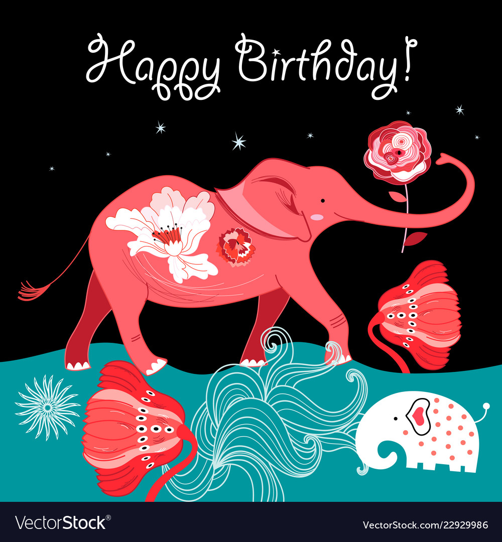 Bright greeting card with a red elephant on a