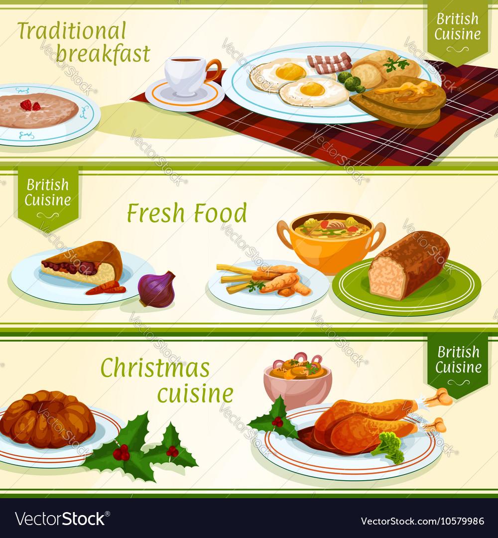 british cuisine breakfast christmas dinner banner vector image - British Christmas Dinner