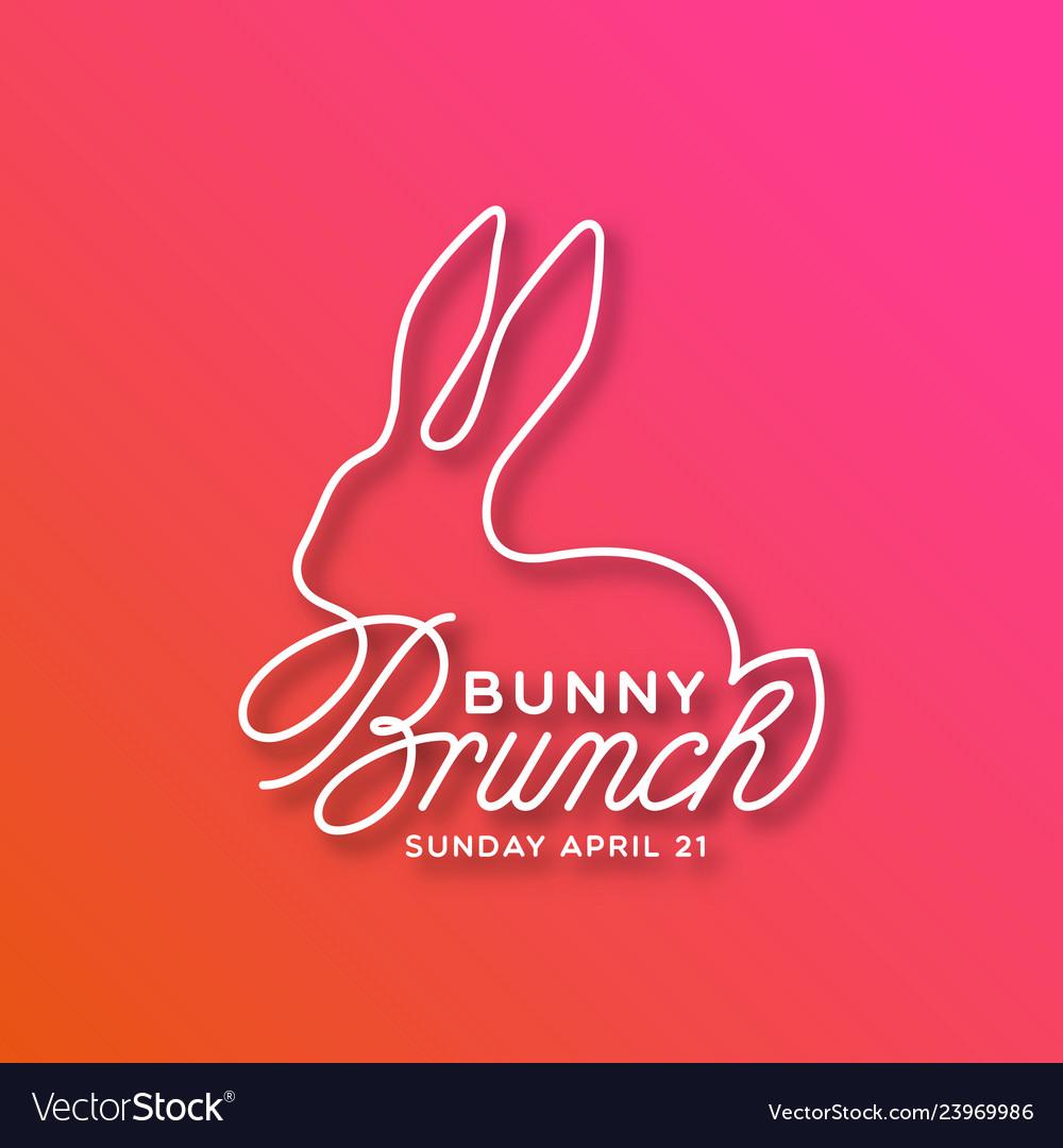Bunny brunch linear lettering