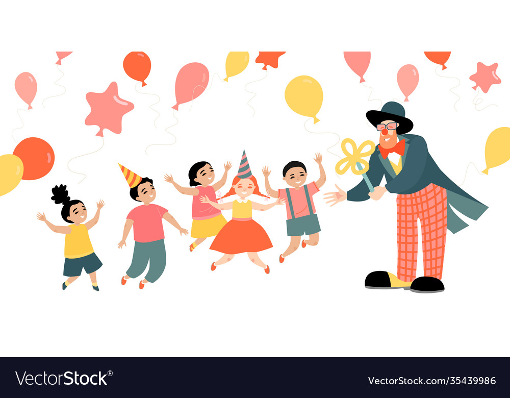 Children party with a cheerful clown