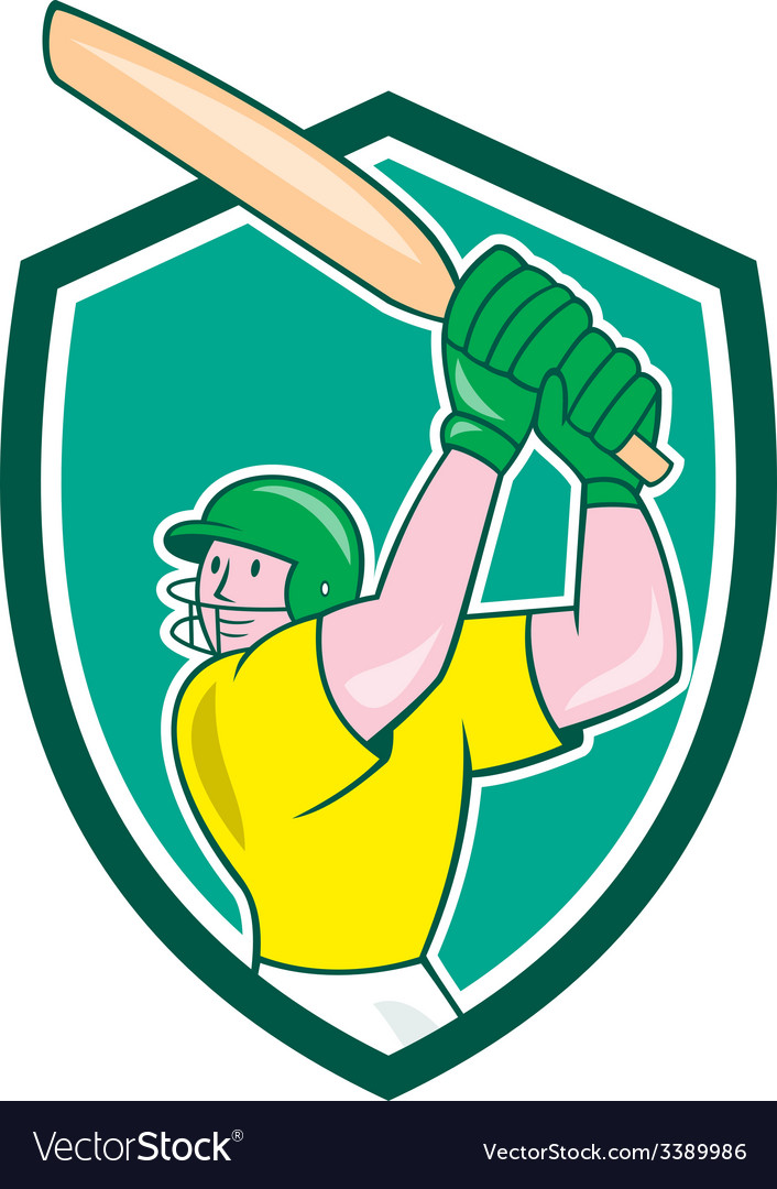 Cricket Player Batsman Batting Shield Cartoon vector image