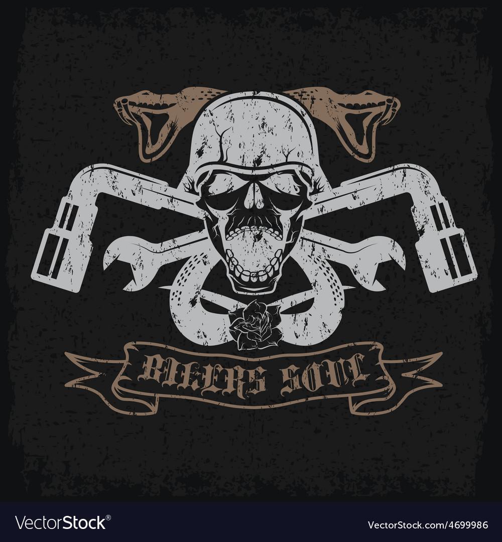 Grunge biker theme label with pistonsflowerssnakes