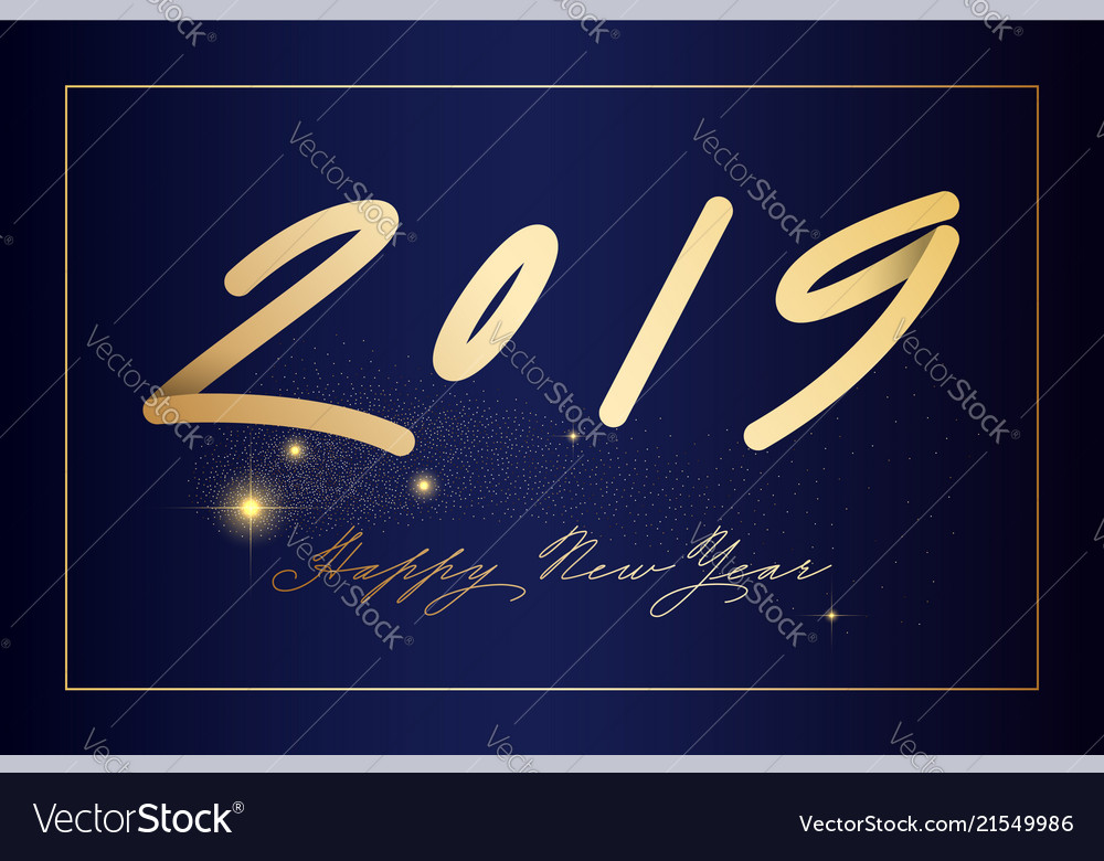 Happy new uear post with nice lettering 2019 in
