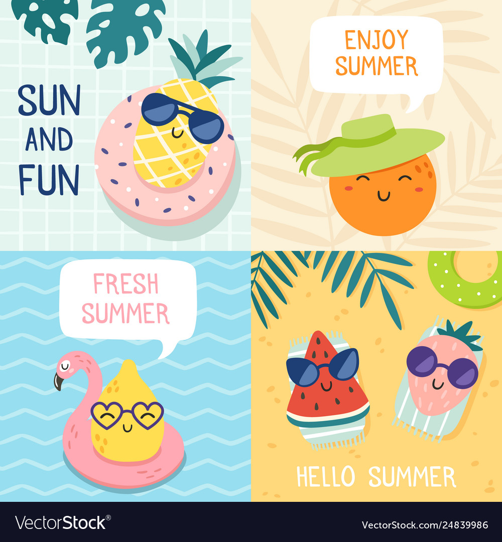 Hello summer poster funny fruits pineapple in