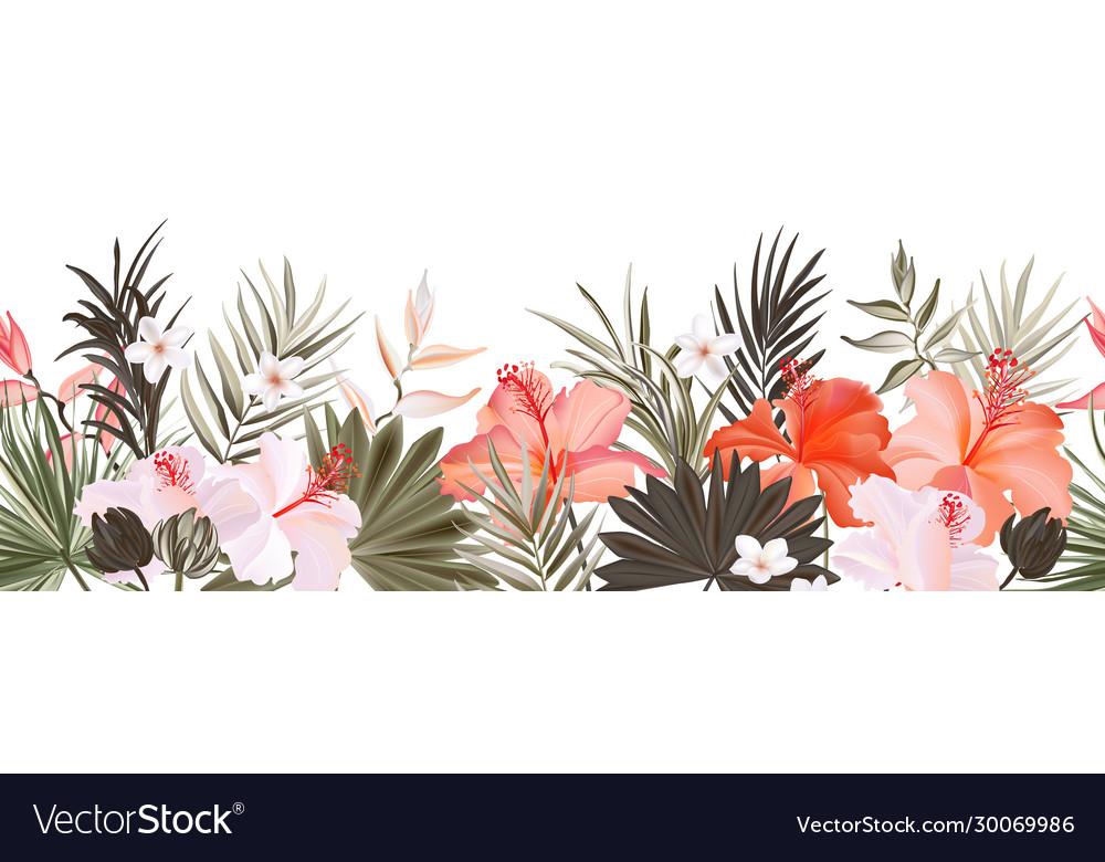 Hibiscus botanic seamless horizontal border