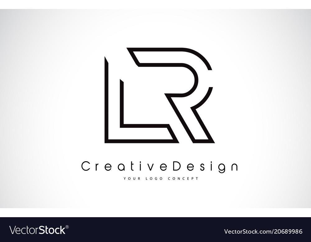 Lr letter logo design in black colors