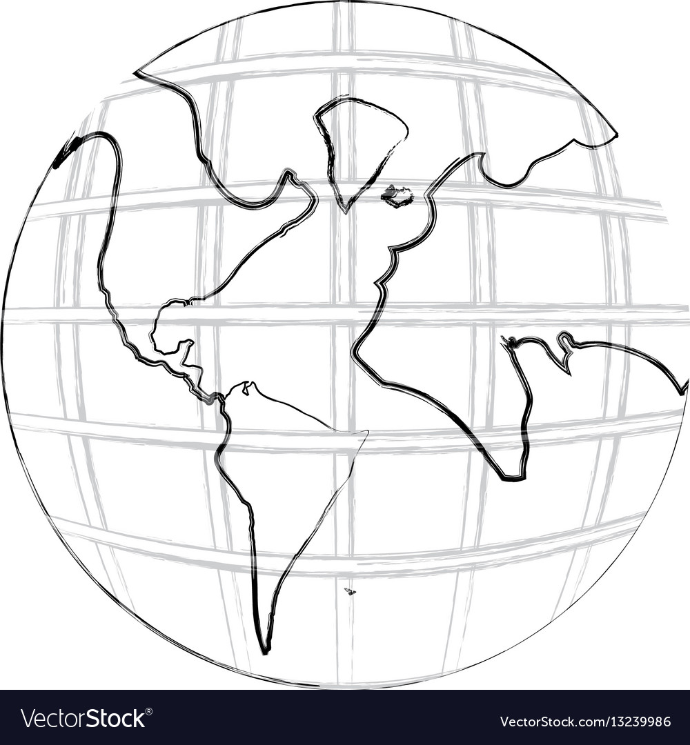 Monochrome contour hand drawing of earth world map monochrome contour hand drawing of earth world map vector image gumiabroncs Images