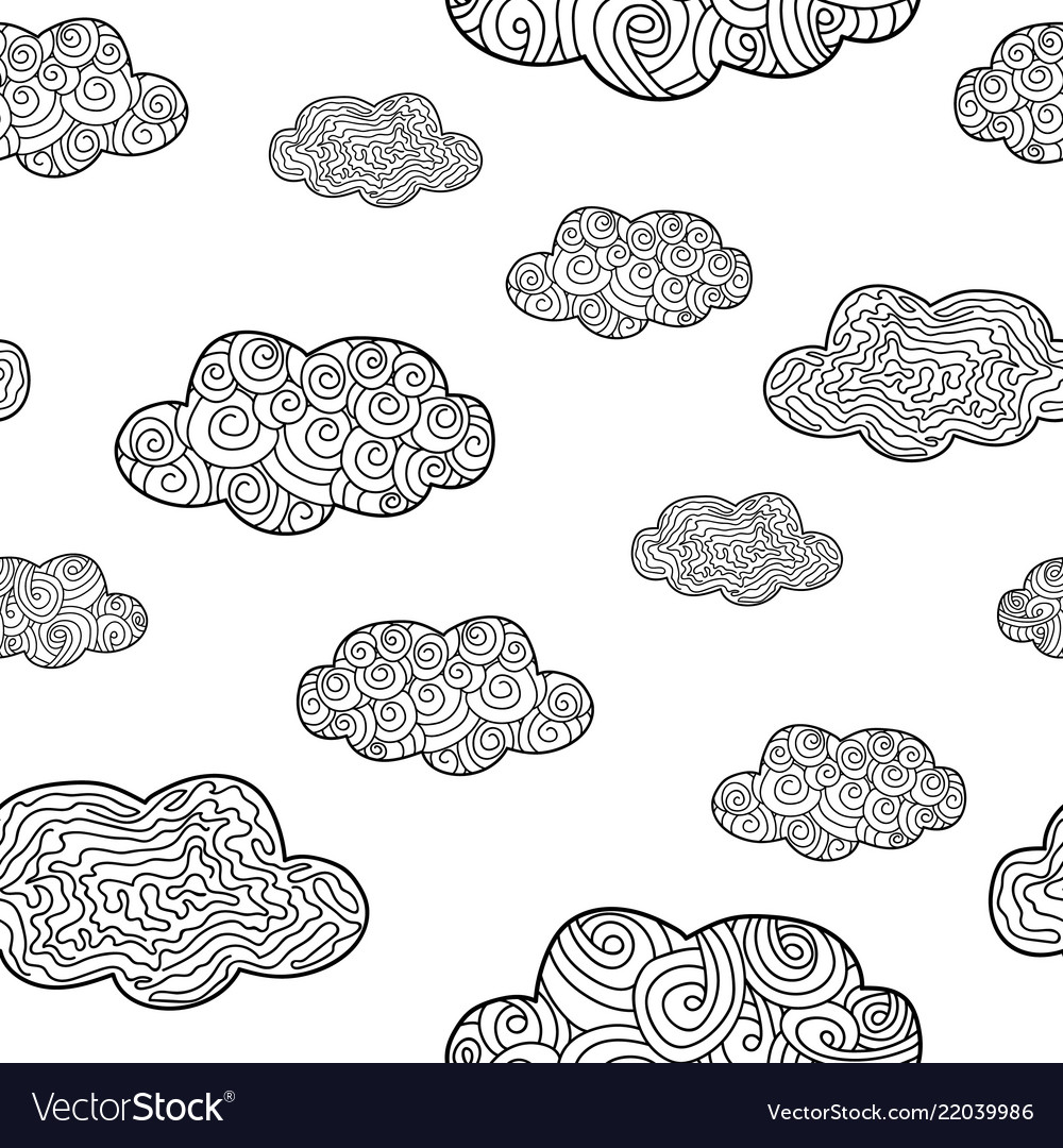 Pattern with doodle clouds