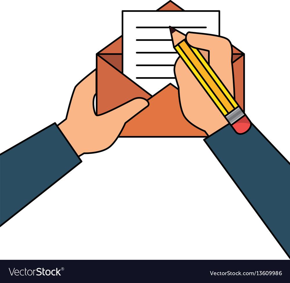 person writing letter mail vector image