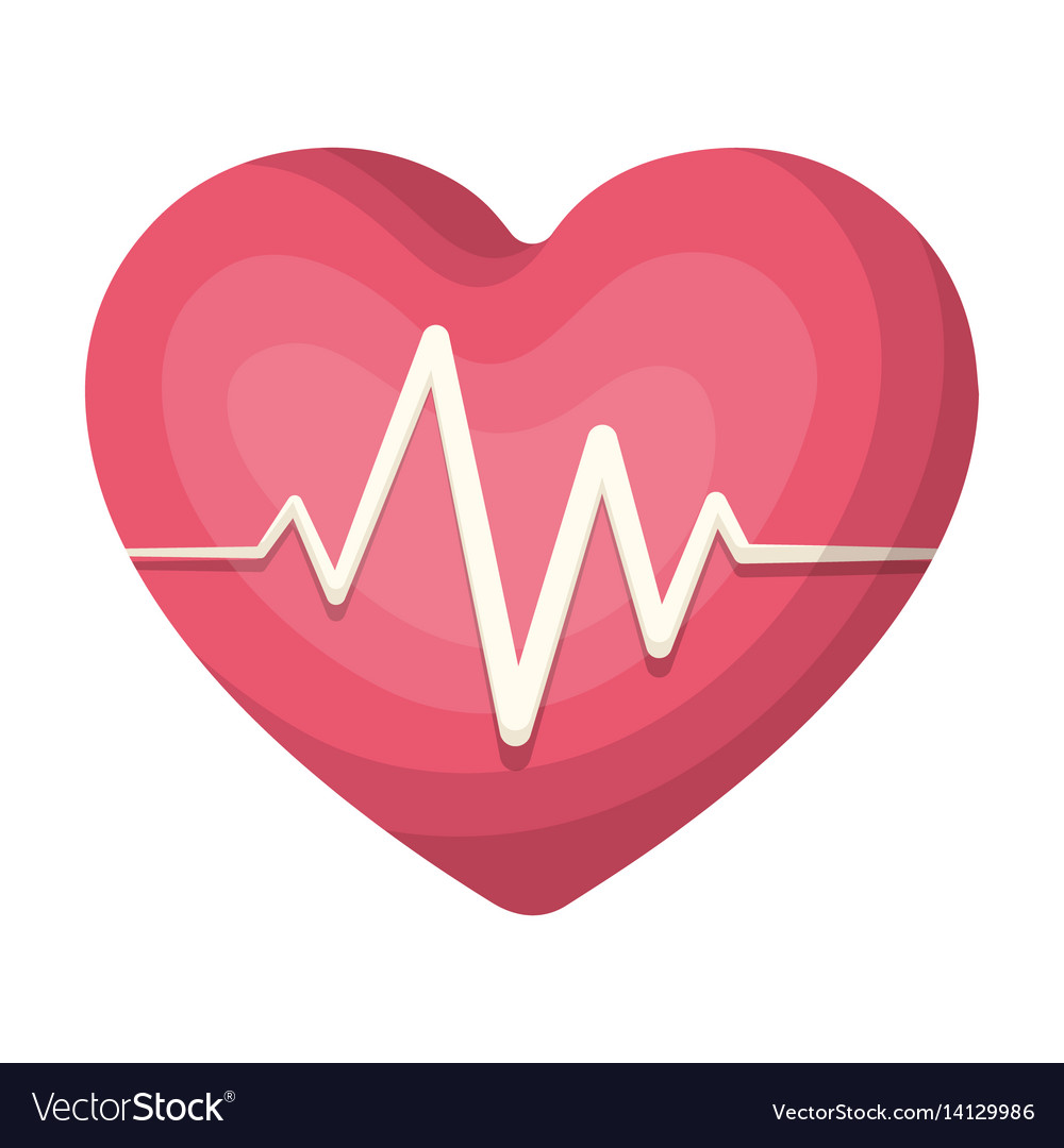 Red heart with pulsethe heart rate of the athlete