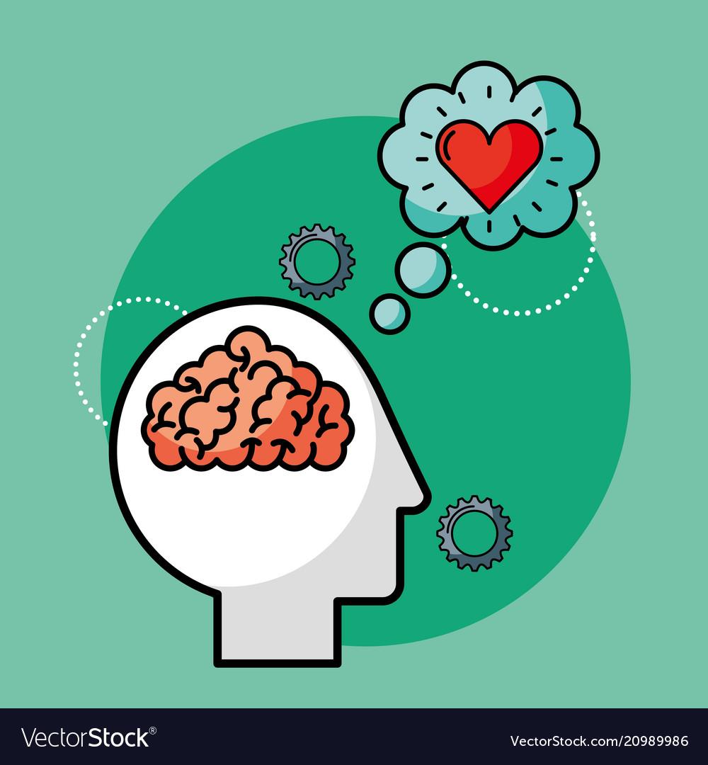 Silhouette man brain love creative idea