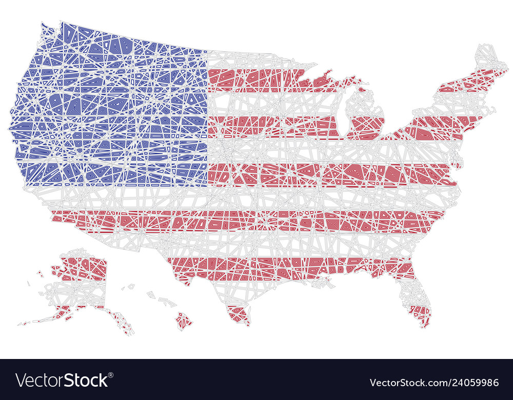Us map shaped on lined american national flag