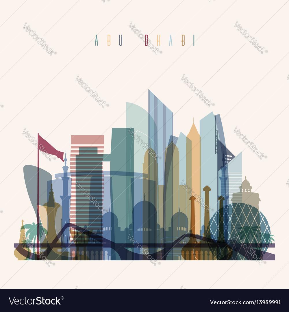 Abu dhabi skyline detailed silhouette vector image