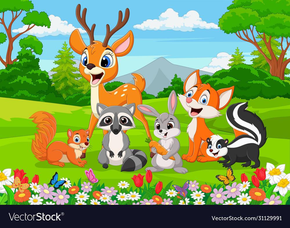 Cartoon wild animals in jungle