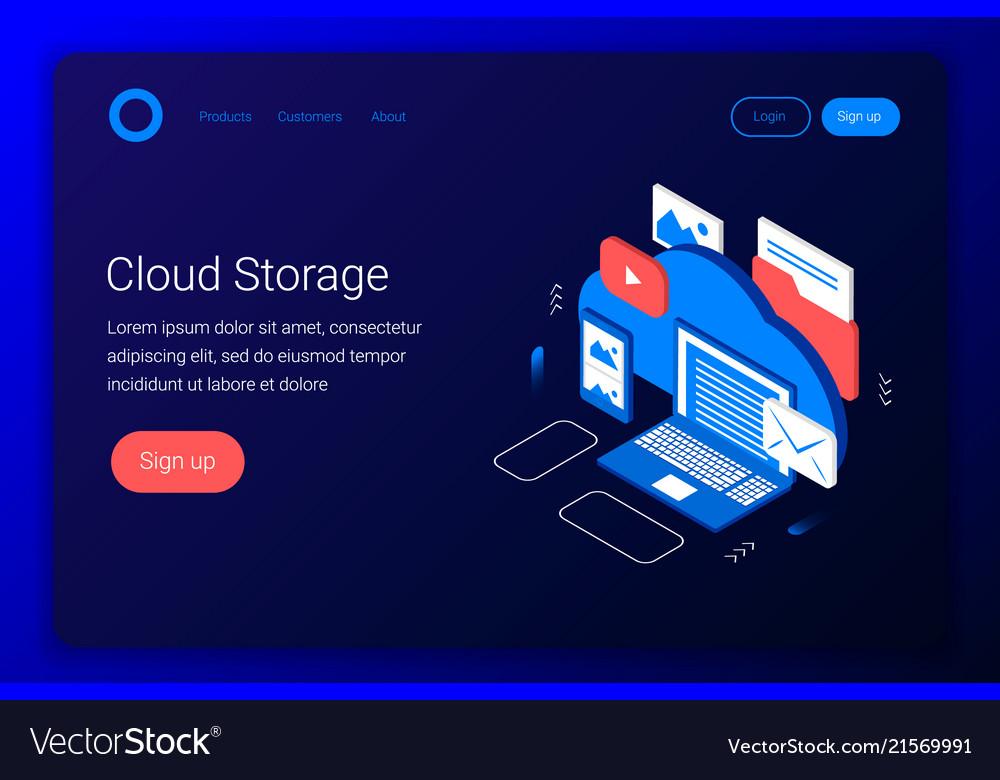 Cloud storage isometric concept