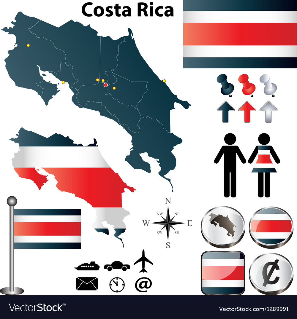 Costa Rica map vector image