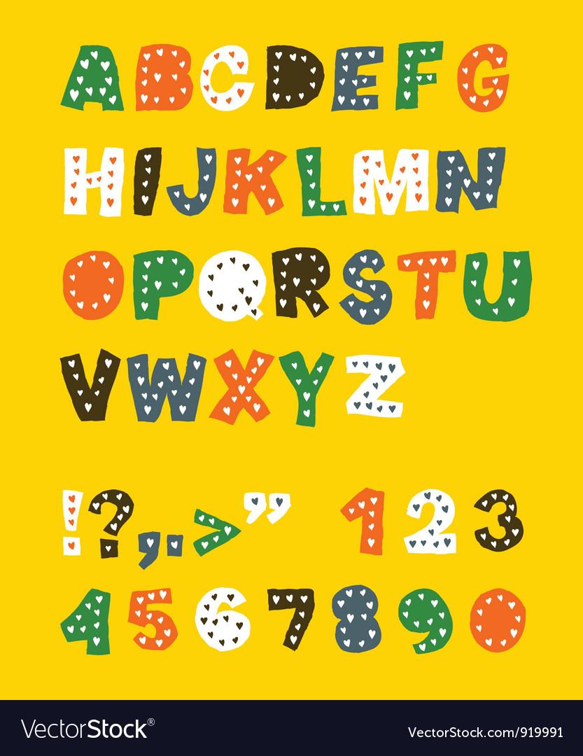 Cute childish font vector image