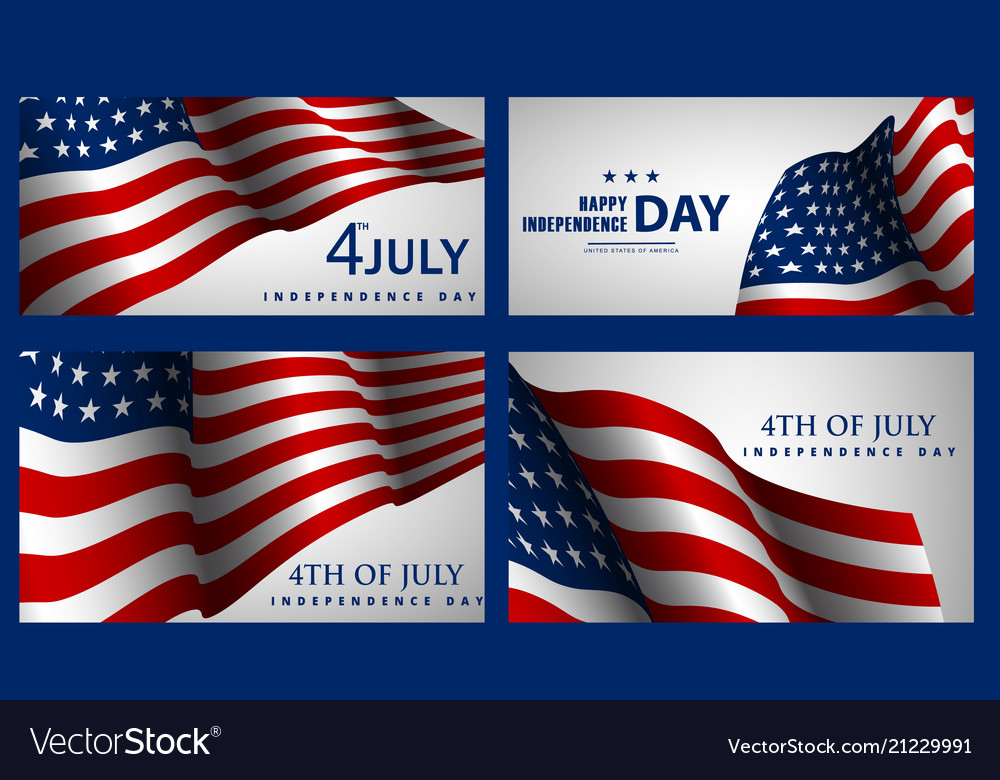 Happy independence day set american banners