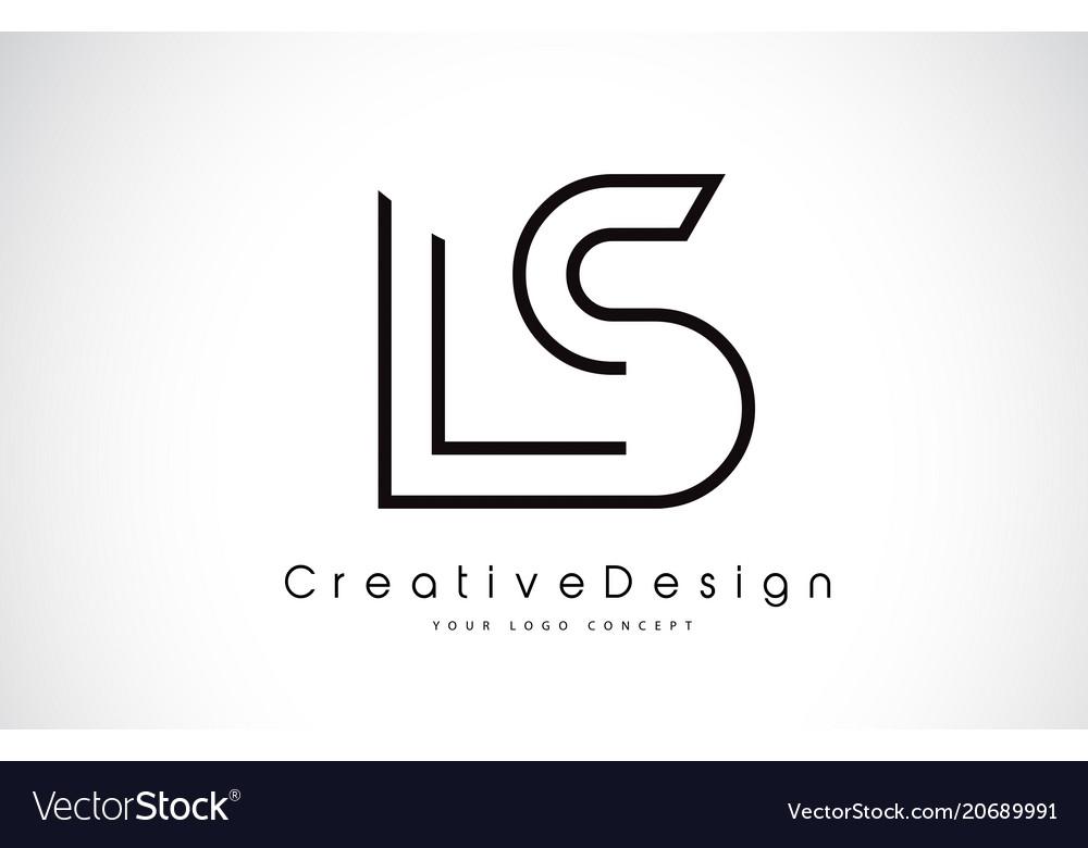 Ls l s letter logo design in black colors vector image