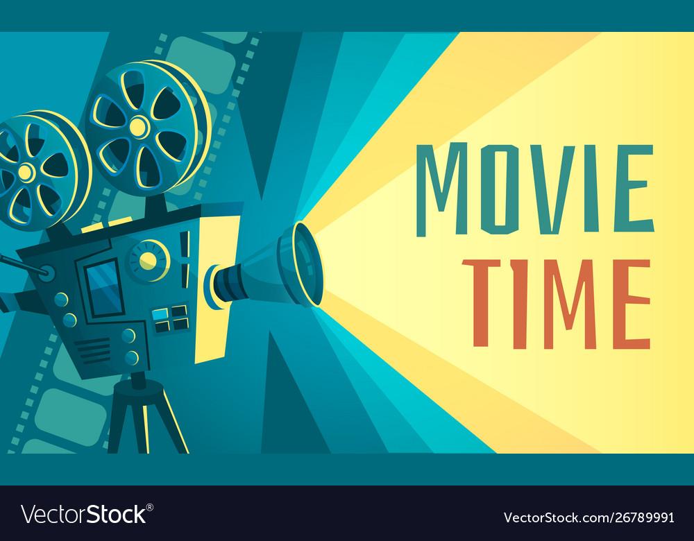 Movie time poster vintage cinema film projector