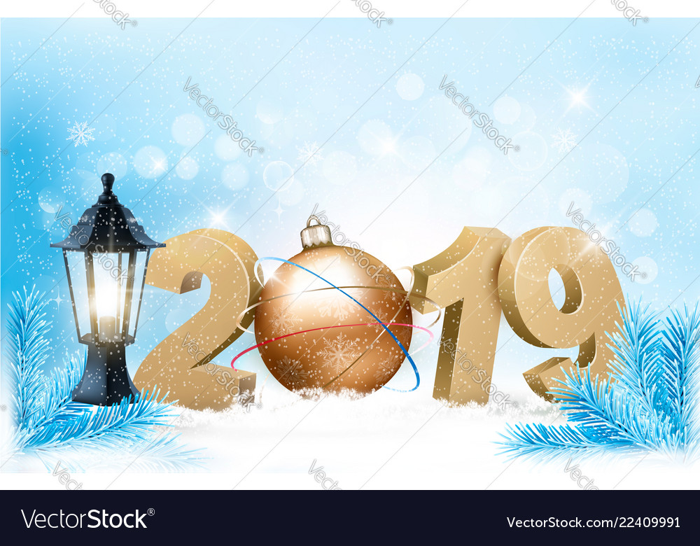 New year background with a 2019 and ball