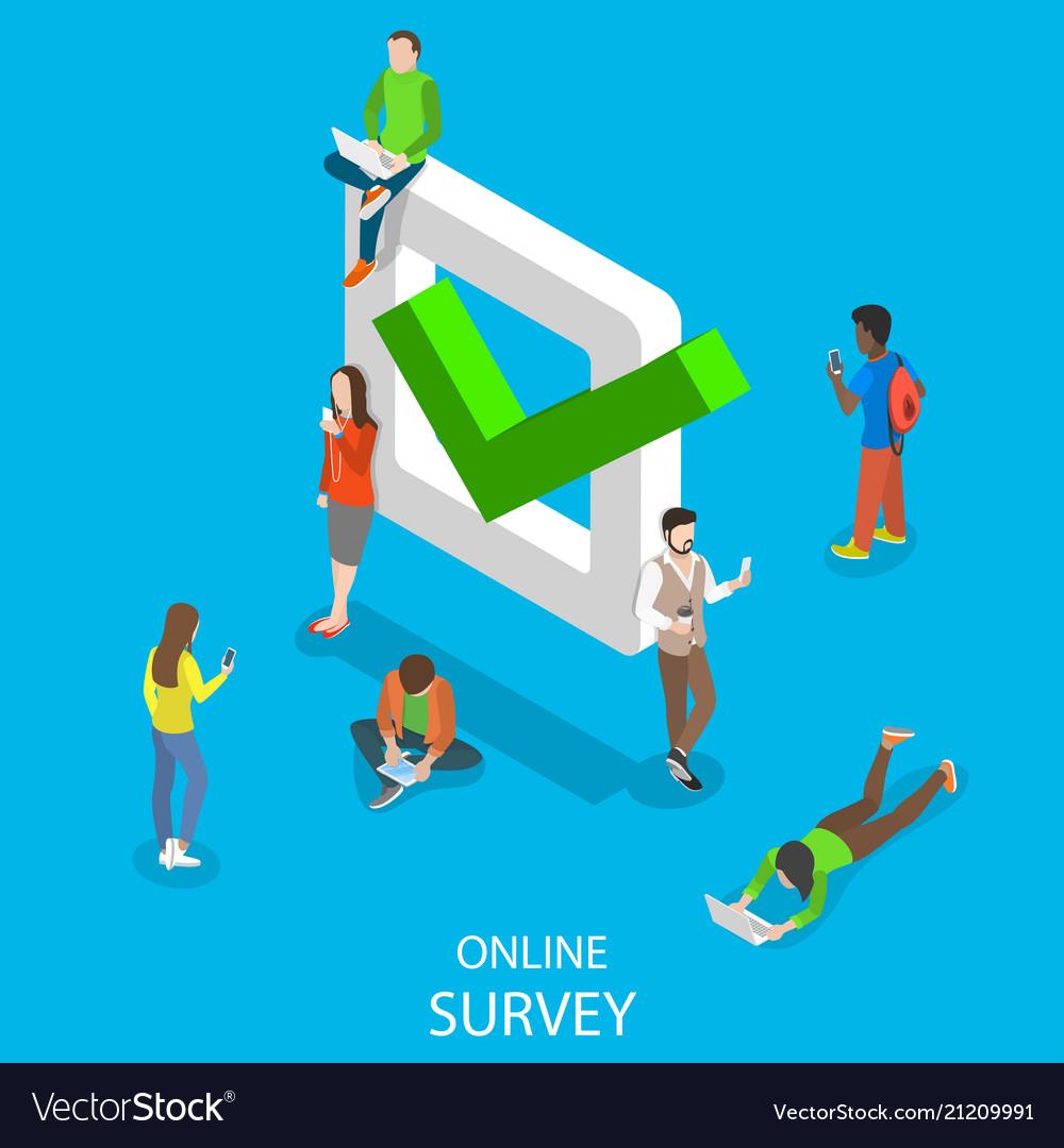 Online survey flat isometric concept