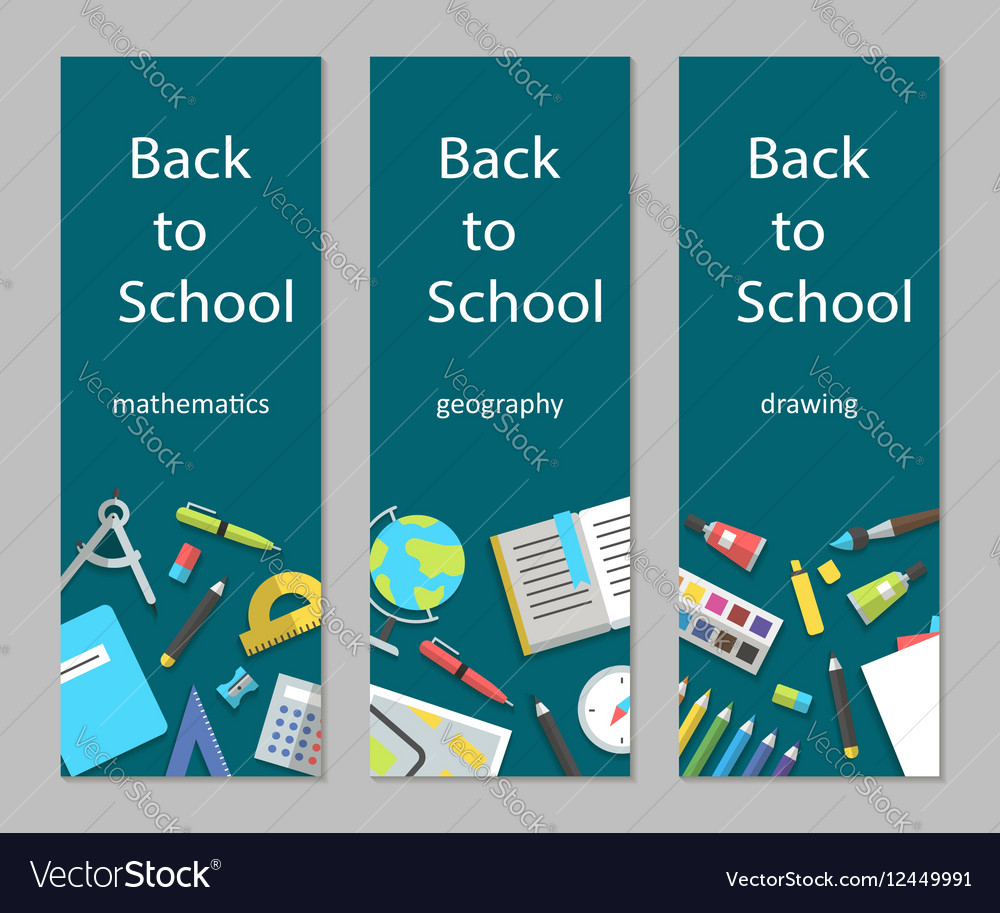 Set vertical banners mathematics geography vector image